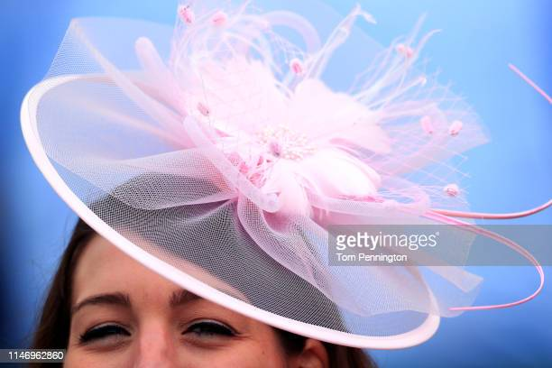 A view of a woman wearing a hat prior to the 145th running of the Kentucky Derby at Churchill Downs on May 04 2019 in Louisville Kentucky