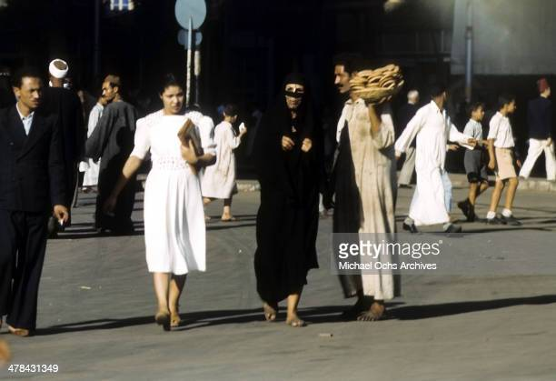 A view of a women wearing a muslim hijab in Algiers Algeria