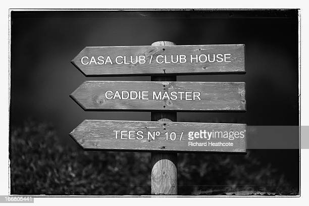 A view of a wooden sign on the course during the proam for the Open de Espana at Parador de El Saler on April 17 2013 in Valencia Spain