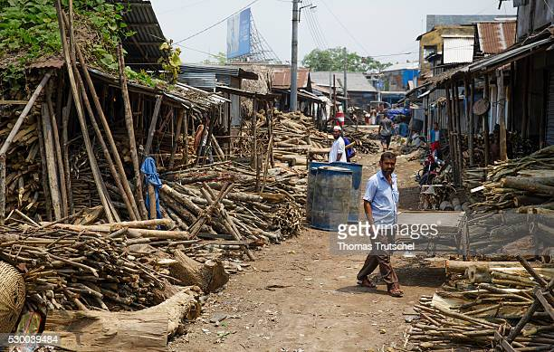 View of a woodworking company on a dirt road on April 12 2016 in Mongla Bangladesh