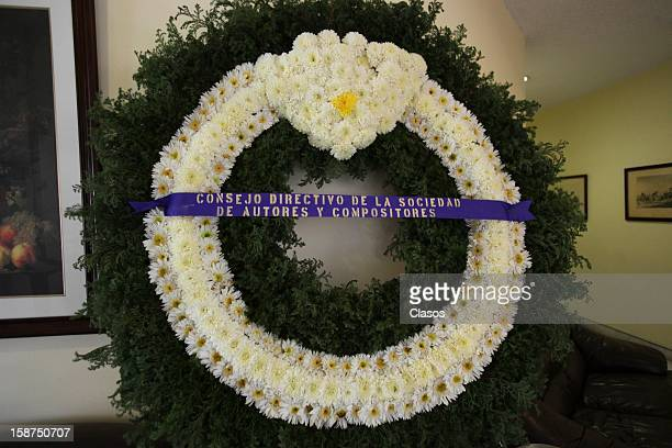 View of a wreath during the funeral of Mexican composer Elena Ema Valdemar on December 24 2012 in Mexico City Mexico