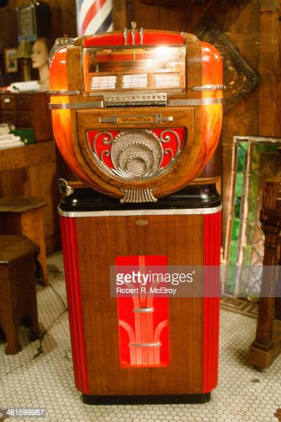 View of a Wurlitzerbrand jukebox in the Back Pages Antiques shop New York New York 1982