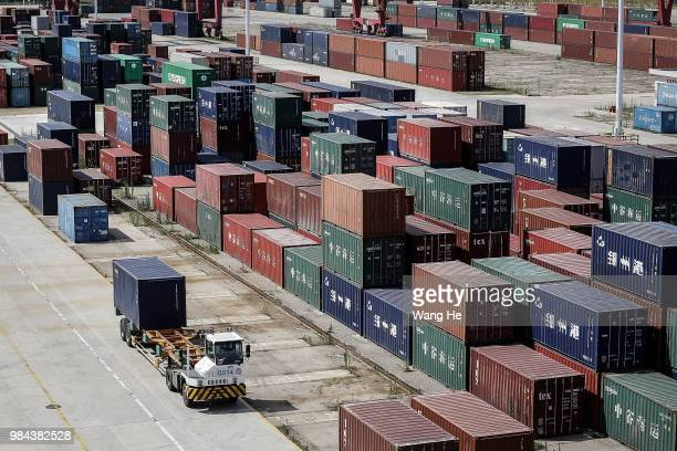 A view of a Yangluo container port on the Yangtze River on June 26 2018 in WuhanHubei province China Wuhan New Port is made up of ports in four...