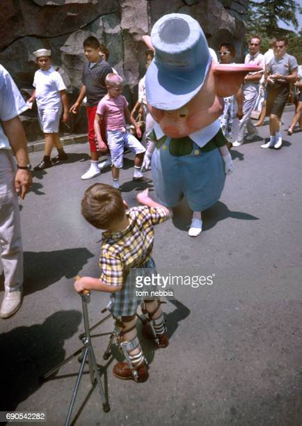 View of a young boy in orthopedic leg braces and a Disney character actor dressed as one of the three little pigs on the grounds of Disneyland...
