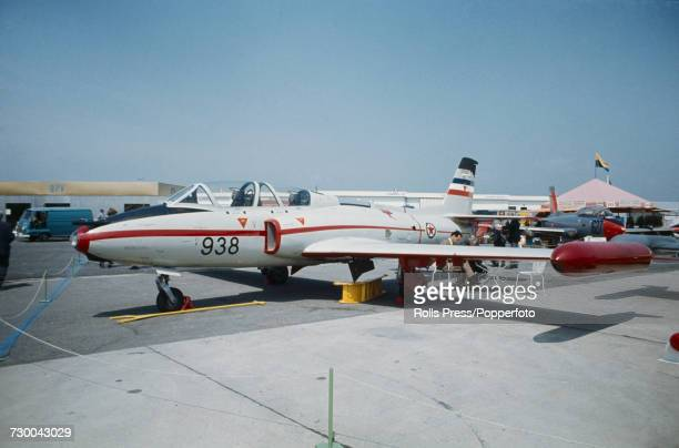 View of a Yugoslav built Soko G2 Galeb military trainer and groundattack aircraft on static display at Le Bourget Airport during the 1971 Paris Air...