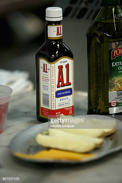 A view of A1 Original Sauce being used in the kitchen at the Food Network Magazine Cooking School 2016 at The International Culinary Center on...