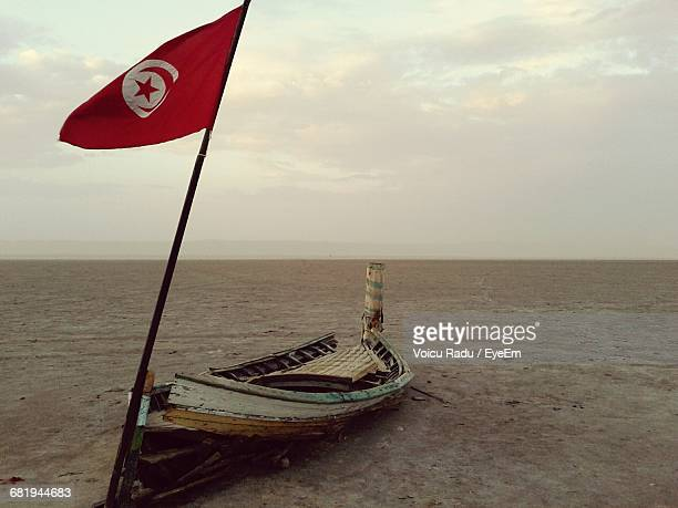 view of abandoned boat with tunisian flag - drapeau tunisien photos et images de collection