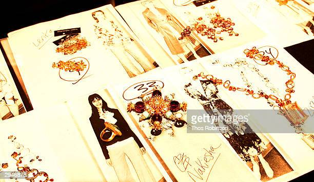 View of accessories backstage during Olympus Fashion Week at Bryant Park February 8 2004 in New York City
