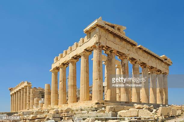 view of acropolis and parthenon - partenone atene foto e immagini stock