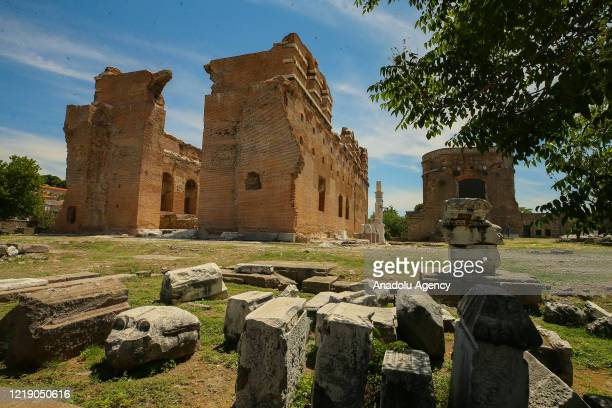 View of acropolis of Pergamum in Bergama, which is re-opened for the visitors within the normalization phase of novel coronavirus pandemic, in Izmir,...