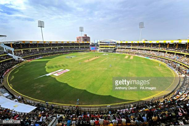 A view of action between India and England during the Second One Day International at the Nehru Stadium in Indore India