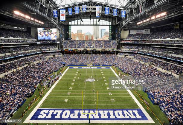 View of action during a preseason game between the St. Louis Rams and Indianapolis Colts on August 12, 2012 at Lucas Oil Stadium in Indianapolis,...