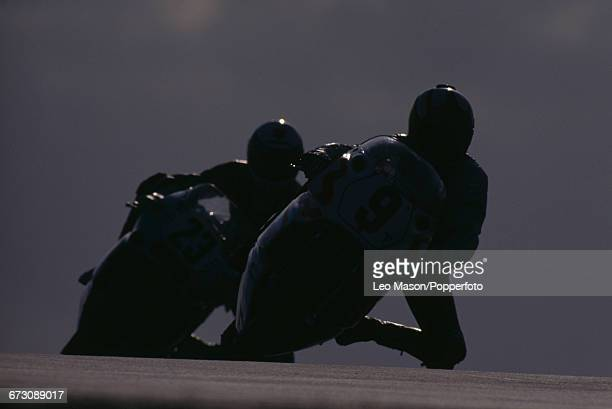 View of action in the 1990 Superbike World Championship with Jari Suhonen of Finland on the Arwidson Yamaha team Yamaha OW01 racing motorcycle...