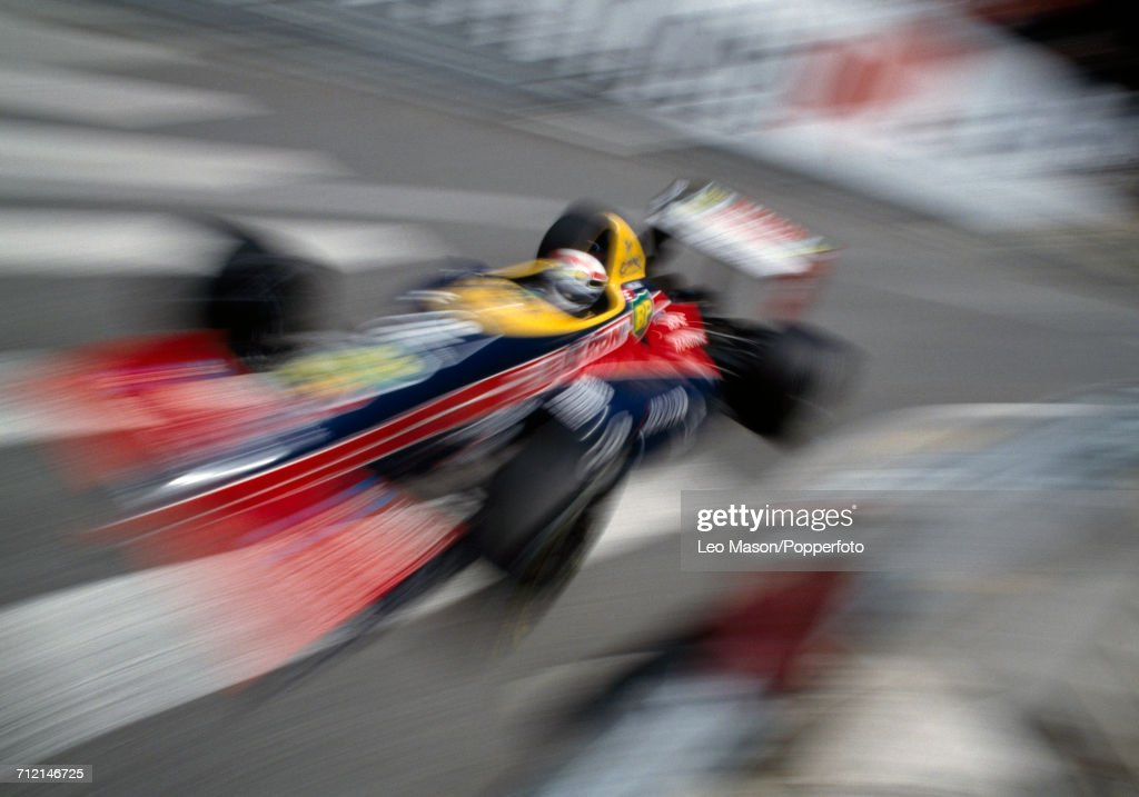 View of action with French racing driver Philippe Alliot driving the Larrousse Calmels Lola LC88 Ford Cosworth DFZ V8 during competition in the Monaco Grand Prix in Monte Carlo on 15th May 1988.