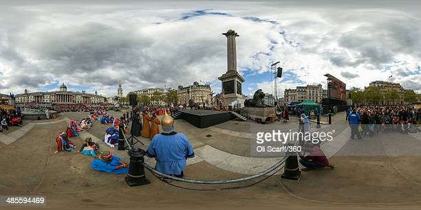 A view of actors from the Wintershall Players performing 'The Passion of Jesus' on Good Friday to crowds in Trafalgar Square on April 18 2014 in...