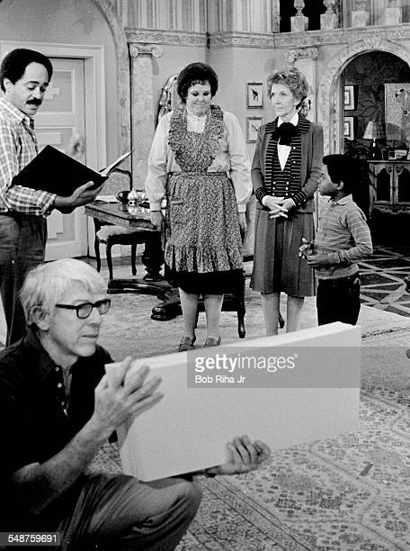 View of actress Mary Jo Carlett American First Lady Nancy Reagan and actor Gary Coleman on the set of the television show 'Diff'rent Strokes' as the...