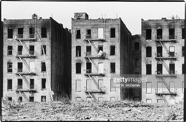 View of adandoned apartment buildings near the intersection of Charlotte Street and Seabury Place in the Bronx New York June 13 1975