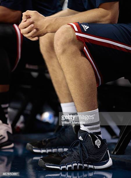 A view of Adidas Rose 773 basketball shoes Adidas socks and uniform worn by a player of the Saint Mary's Gaels during the game against the Gonzaga...