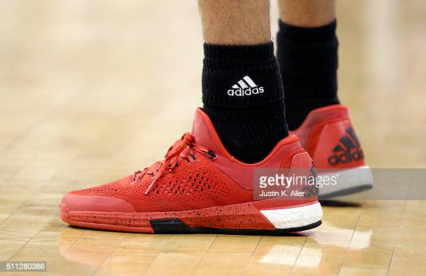 A view of Adidas shoes during the game between the North Carolina State Wolfpack and the Pittsburgh Panthers at Petersen Events Center on January 19...