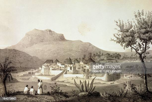 View of Adua capital of Tigray province Ethiopia engraving from a drawing by Jean Vignaud from Journey to Abyssinia 18391843 by Charlemagne Theophile...