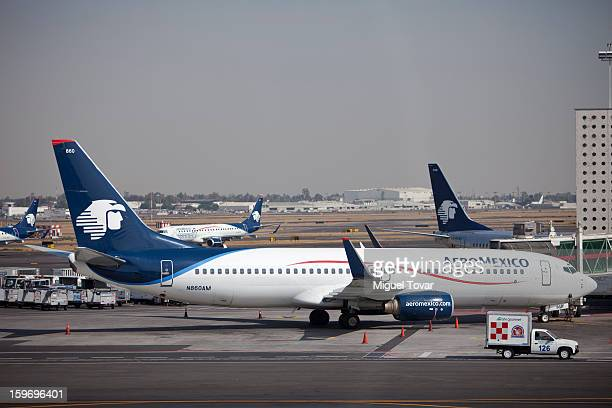 View of AeroMexico planes on the tarmac at the Benito Juarez International Airport in Mexico City Mexico on January 18 2013 The mexican airline...