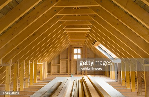 View of A-frame attic in a newly-built home