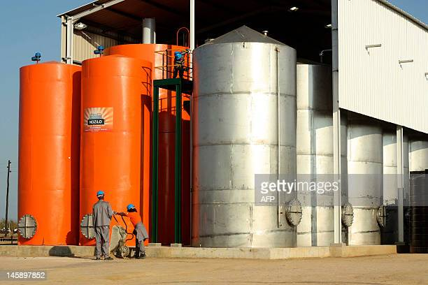 A view of Africa's first sustainable cooking fuel facility outside Dondo on May 18 near Mozambique's second largest city Beira The facility began...