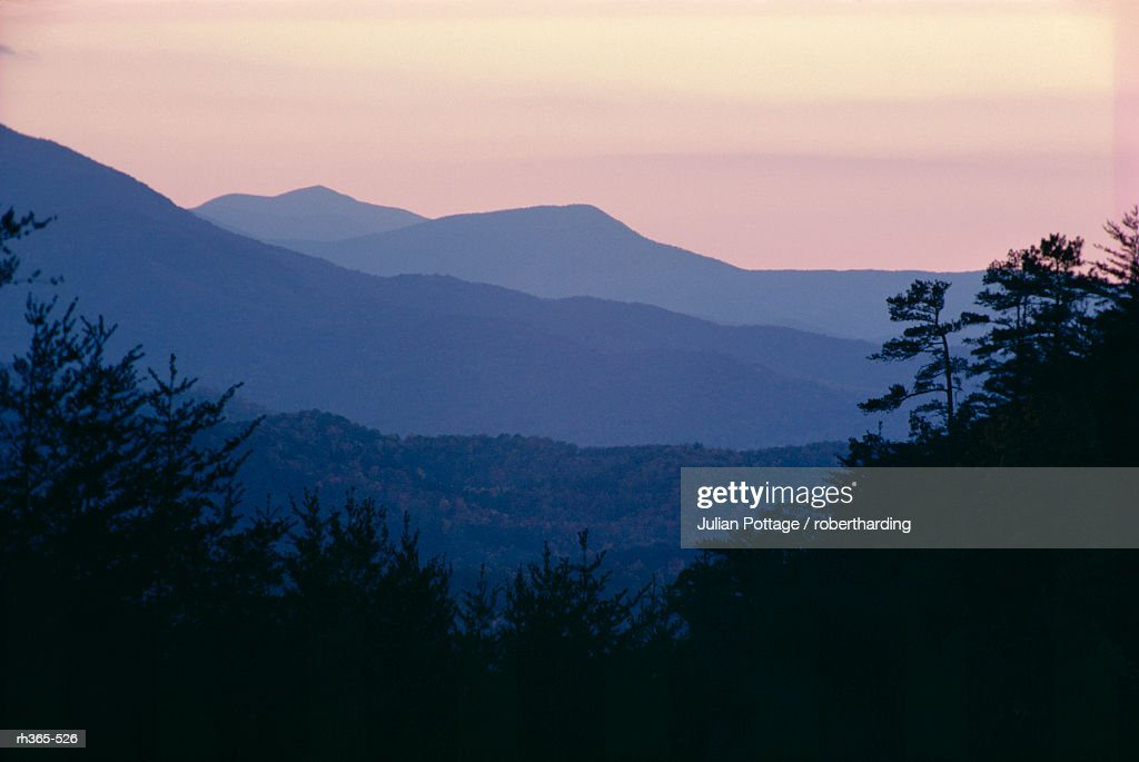 View of afterglow from Foothills Park, west of Appalachian Mountains, Tennessee, United States of America (U.S.A.), North America : Stockfoto