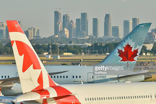 A view of Air Canada planes at Toronto Pearson International Airport On Wednesday 20 July 2016 in Toronto Canada