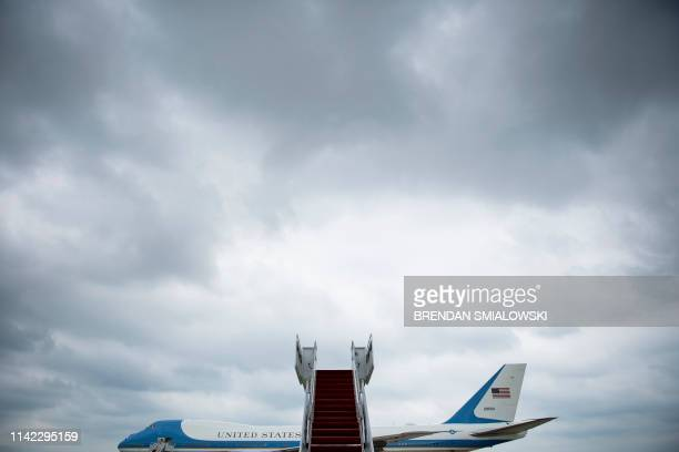 View of Air Force One before the arrival of US President Donald Trump at Andrews Air Force Base, Maryland on May 8 as he travels to Florida to visit...