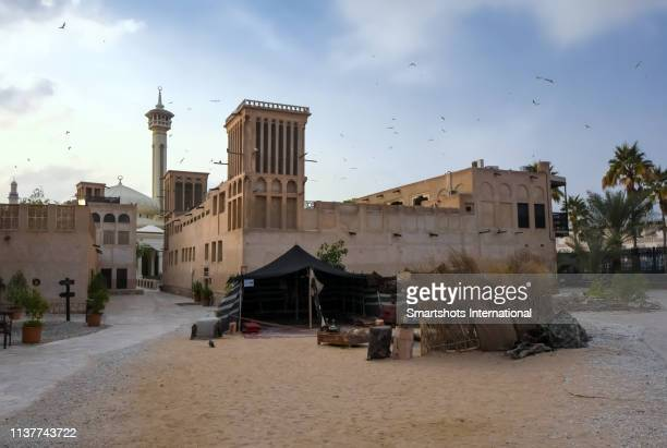 view of al bastakiya historical district in dubai, uae - tradition stock pictures, royalty-free photos & images