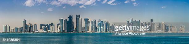 view of al dafna district (west bay business quarter) from museum of islamic art (mia) park - doha stock pictures, royalty-free photos & images