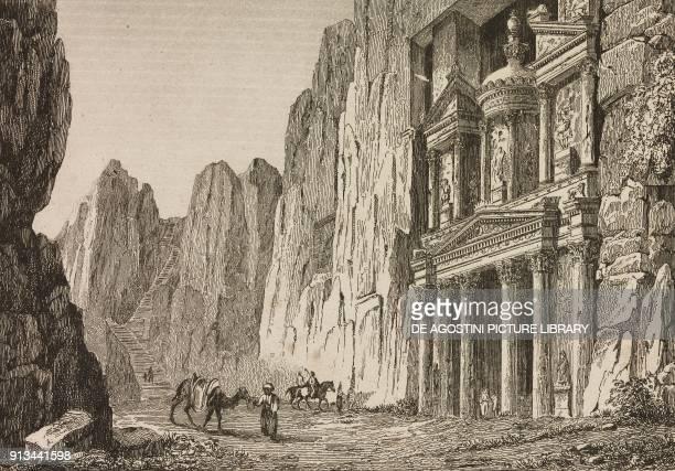 View of Al Khazneh the Treasury Petra Jordan engraving by Lemaitre from Arabie by Noel Desvergers avec une carte de l'Arabie et note by Jomard...