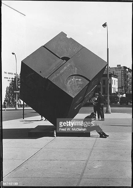 View of 'Alamo' also known as 'the Cube' or 'Copper Cube' located on a traffic island near Cooper Union college New York New York September 25 1967