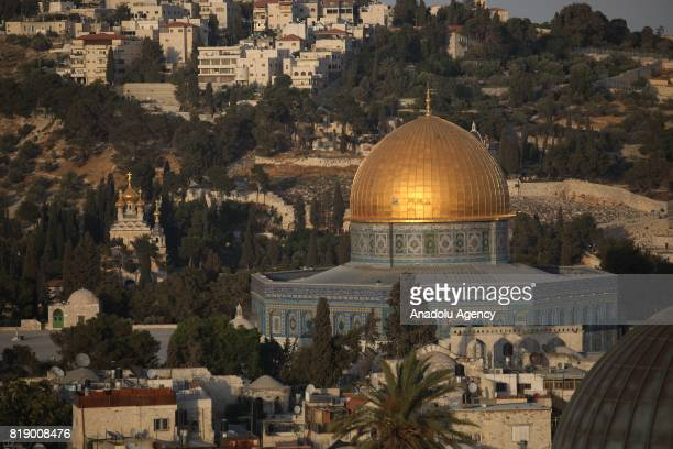 A view of AlAqsa Mosque Compound in Jerusalem on July 19 2017 Israeli authorities installed metal detectors on two gates of AlAqsa Mosque Compound to...