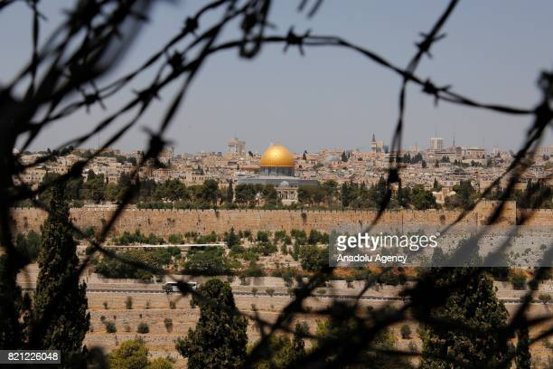View of Al-Aqsa Mosque Compound in Jerusalem on July 23, 2017. Israeli authorities installed metal detectors on two gates of Al-Aqsa Mosque Compound...