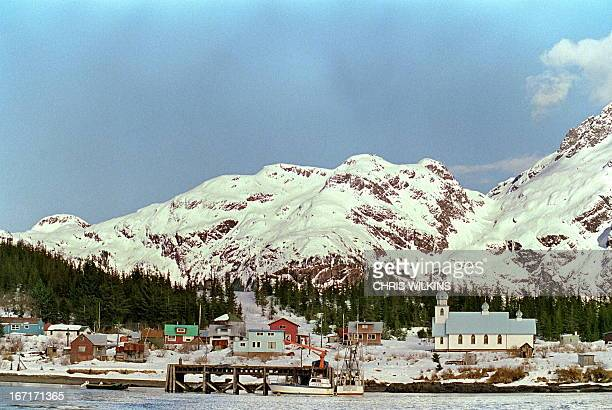 A view of Alaskan Indian village of Tatitlek 26 March 1898 two days after the beginning of an oil disaster which occurred when the tanker Exxon...