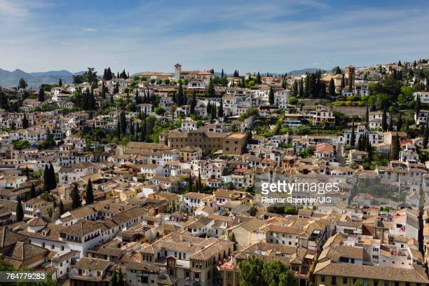 View of Albaicin Churches of Saint Nicholas mirador and Our Saviour from Alcazaba fortress in Granada Spain