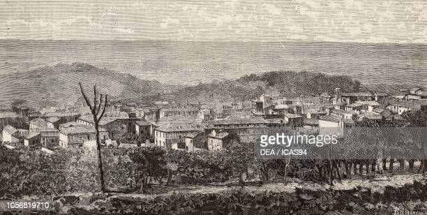 View of Albano Italy engraving from a drawing by Dante Paolocci from L'Illustrazione Italiana No 12 March 23 1884