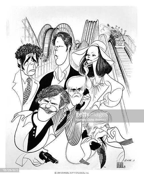 A view of Albert Hirschfeld caricatures for the Universal Pictures movie Rollercoaster in 1977