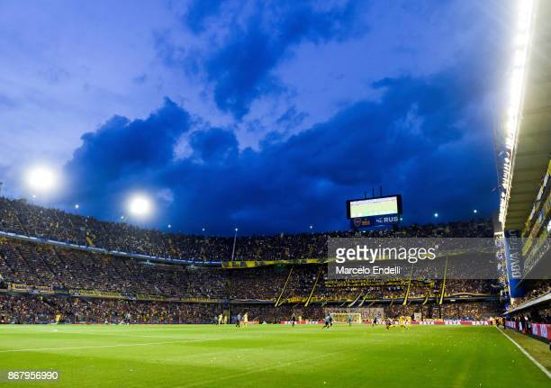 View of Alberto J Armando Stadium during a match between Boca Juniors and Belgrano as part of Superliga 2017/18 at Alberto J Armando Stadium on...