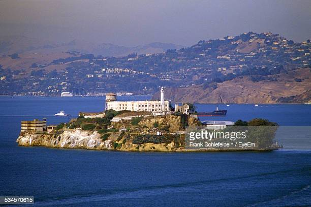 View Of Alcatraz Island In Bay Against Mountains