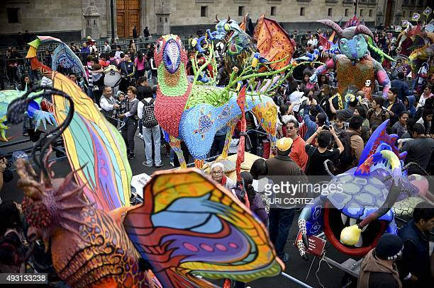 View of Alebrijes at the El Zocalo square during Ninth Monumental Alebrijes Parade and contest on October 17 2015 in Mexico City Some 221 Alebrijes...
