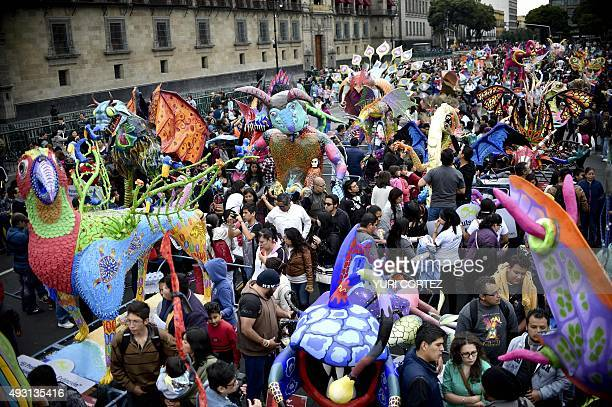 View of 'Alebrijes' at the El Zocalo square during Ninth Monumental 'Alebrijes' Parade and contest on October 17 2015 in Mexico City Some 221...