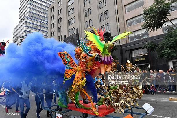 View of 'Alebrijes' Mexican folk art traditional sculptures representing fantastical creatures during the tenth Monumental 'Alebrijes' Parade and...