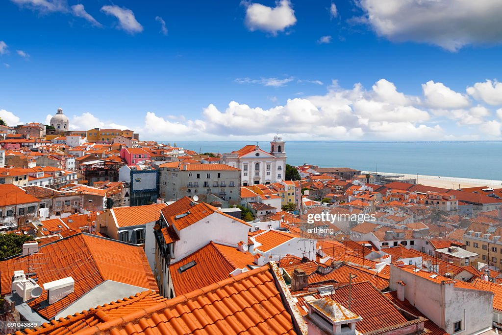 View of Alfama From Miradouro de Santa Luzia, Lisbon, Portugal : Stock Photo