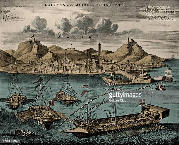 View of Algiers with Mediterranean Galleys published in van Keulen 's Dutch Atlas 1709 Modern day Algeria Caption ' 1 mainmast and yard 7 11 foremast...