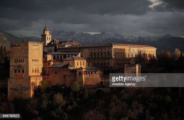 A view of Alhambra Palace one of the greatest masterpieces of Islamic architecture to reach the present time in AlAndalus region Granada Spain on...