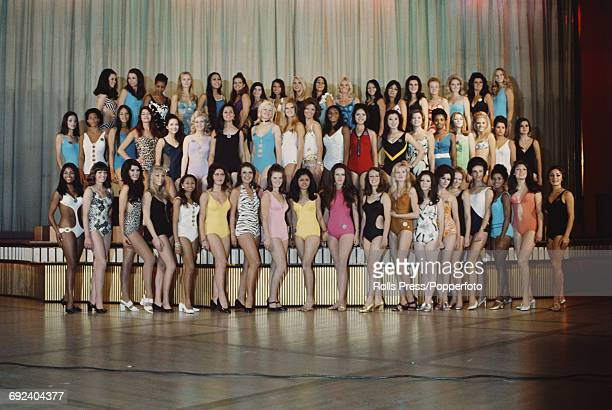 View of all the contestants posed wearing swimsuits on 14th November prior to competition in the Miss World 1970 beauty pageant at the Royal Albert...