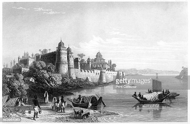 'View of Allahabad showing the fort' c1860 Allahabad Fort on the banks of the River Yamuna in India was built by Emperor Akbar in 1583 Illustration...